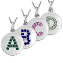 Color Stone Initial Necklace Available A-Z