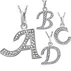 1/20 - 1/8 Ct. tw Diamond Initial Necklace