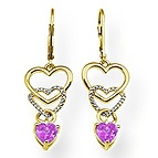 Color Stone Heart Earrings