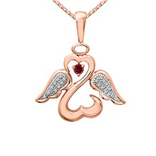 1/20 Ct. tw Diamond Color Stone Angel Heart Necklace