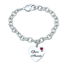 Color Stone Heart Bracelet Sterling Silver
