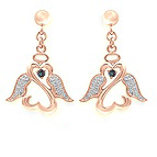 Diamond and Color Stone Angel Heart Earrings