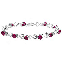 Color Stone Heart Bracelet