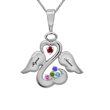 Color Stone Angel Heart Necklace