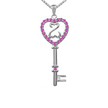 Color Stone Heart Key Necklace