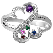 Color Stone Heart Mother's Ring