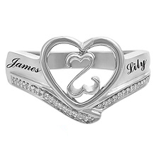 1/20 Ct. tw Diamond Couple's Heart Ring