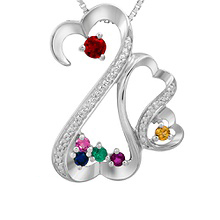 Color Stone Heart Mother's Necklace