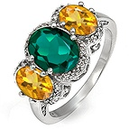 Diamond and Color Stone Three Stone Ring