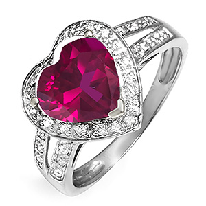 1/8 Ct. tw Diamond Color Stone Heart Ring