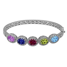 Color Stone Mother's Bangle Bracelet