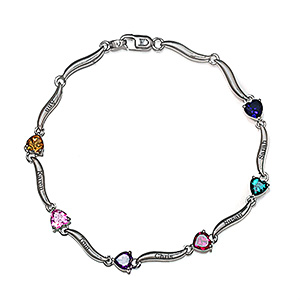 Color Stone Mother's Heart Bracelet