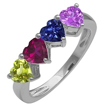 Color Stone Heart Ring