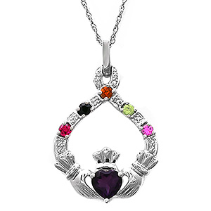 Color Stone Heart Claddagh Necklace
