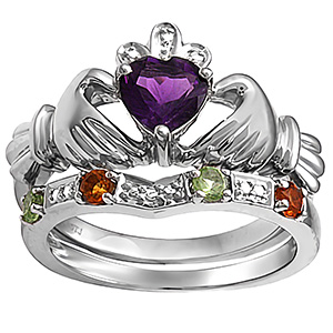 Attirant Color Stone Heart Claddagh Ring