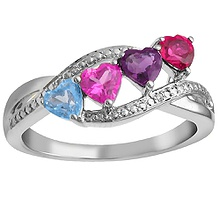 color stone mothers heart ring - Wedding Rings At Kay Jewelers