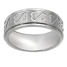Men's Heart Wedding Band Titanium