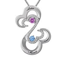 1/8 Ct. tw Diamond Color Stone Couple's Heart Necklace