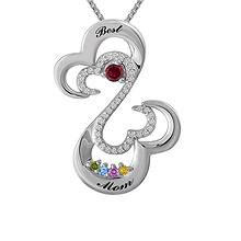 1/10 Ct. tw Diamond Color Stone Mother's Heart Necklace