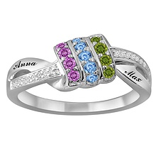 1/20-1/15 Ct. tw Diamond Color Stone Mother's Ring