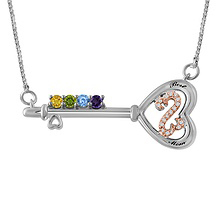 Diamond and Color Stone Mother's Heart Necklace Sterling Silver
