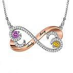 Color Stone Diamond Couple's Necklace Sterling Silver