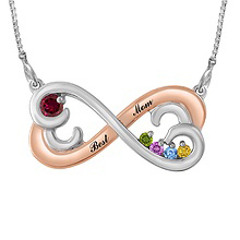 Color Stone Mother's Heart Necklace Sterling Silver