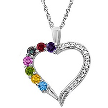 Color Stone Mother's Heart Necklace