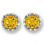 1/15 Ct. tw Diamond Color Stone Stud Earrings