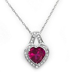 1/10 Ct. tw Diamond Color Stone Heart Necklace