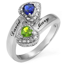 1/15 Ct. tw Diamond Color Stone Couple's Heart Ring
