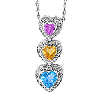 Color Stone Heart Necklace