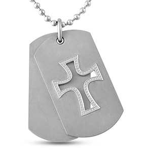 1/5 Ct. tw Diamond Dog Tag Necklace Titanium