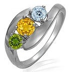Color Stone Three Stone Ring