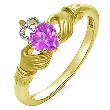 Color Stone Heart Claddagh Ring