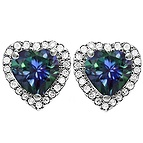 1/6 Ct. tw Diamond Color Stone Heart Stud Earrings