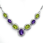 Color Stone Necklace Sterling Silver