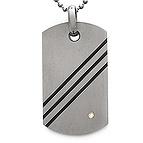 Men's Dog Tag Necklace Titanium- Birthstones