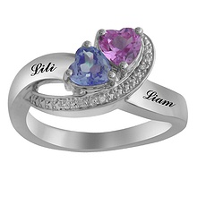 color stone couples heart ring - Jared Jewelers Wedding Rings
