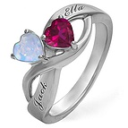 Color Stone Couple's Heart Ring