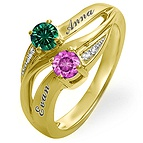 Color Stone Couple's Ring