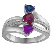 Color Stone Three Stone Heart Ring