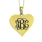 Monogram Heart Initial Necklace Available A-Z