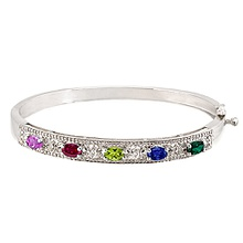Color Stone Bangle Bracelet