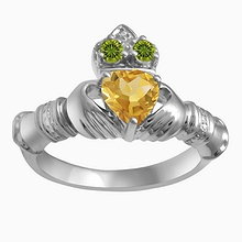 Color Stone Couple's Claddagh Ring