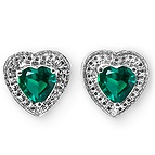 Color Stone Heart Stud Earrings