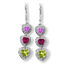 Color Stone Heart Drop Earrings