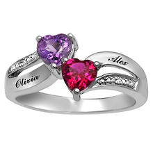 color stone couples heart ring - Wedding Rings At Kay Jewelers