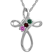 Color Stone Cross Necklace