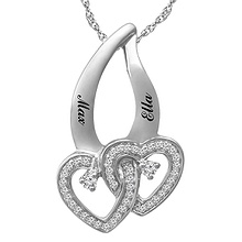 1/10 Ct. tw Diamond Couple's Heart Necklace
